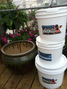 Our buckets are either 2gal for smaller households, or 3.5gal for larger households.